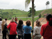 Clinic participants look out over Haras Lagoinha and the main arena where the show horses were being exhibited for our clinic.